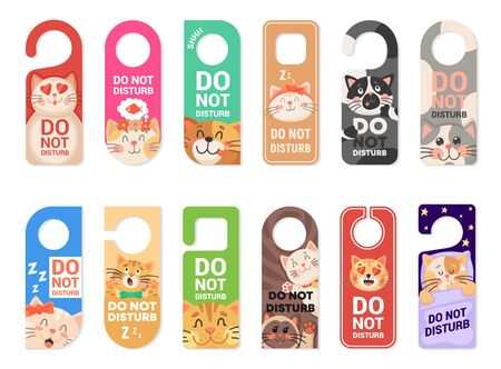 Do not disturb door hanger vector signs, tags or labels with cute cat animals. Hotel room door handle or knob hanging cards with sleeping kittens, playing kitties and warning messages of keep silence Vectores