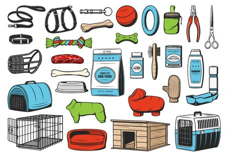 Dog animal care, vector icons of pet shop. Dog or puppy food, toys and grooming accessories, feeding bowl, collar and leash, kennel, bed, carrier and harness, brush and shampoo