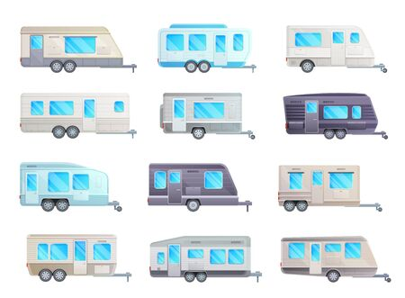 Camper trailer or travel caravan vector set of RV car and transportation design. Camp and mobile homes, recreational motor vehicle for family camping, summer vacation and road trip design