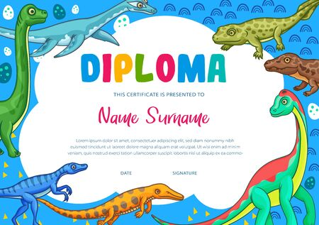 Education diploma certificate vector template of school graduation, kindergarten or preschool achievement award. Kids certificate of appreciation with cartoon dinosaur animals and jurassic reptiles