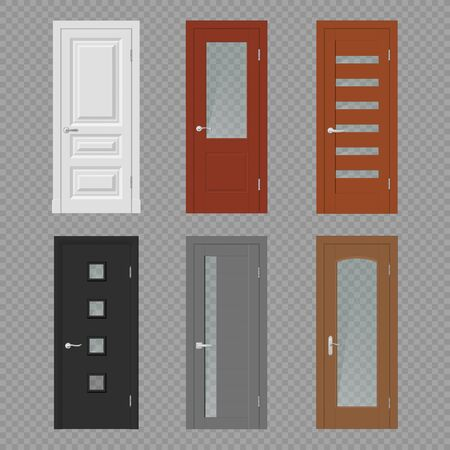 Interior door, room doorway and entrance realistic vector mockups. Wood doors on transparent background 3d template with casing frames, glass panels, silver metal handles and hinges, interior design
