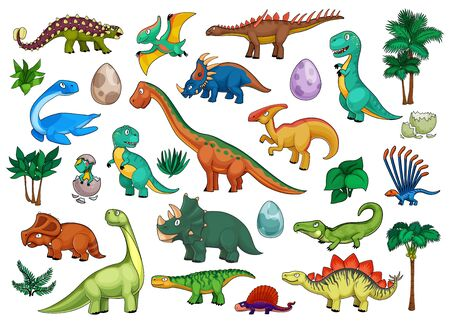 Dinosaurs cartoon set with cute dino animals, babies in eggs and palm trees. Funny triceratops, stegosaurus, brontosaurus, t-rex and tyrannosaurus, pterodactyl, ankylosaurus and brachiosaurus
