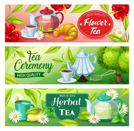 Tea beverage vector banners of green, herbal and black hot drinks. Tea cups and mug, teapots and kettle, green leaves, chamomile and hibiscus flowers, lemon, croissant, saucers and infuser spoon