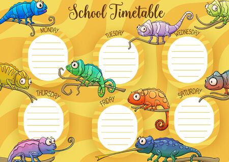 School timetable vector template of student schedule, education design. School timetable weekly planner with lesson chart layout with background frame of cute cartoon chameleon lizards