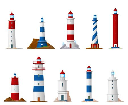 Sea lighthouse isolated vector icons of nautical navigation design. Beacon tower building with guid beam of searchlight symbols, marine navigational equipment and navy safety themes