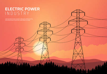 Energetics, power transmission line, electric industry vector poster. Transmission high voltage towers with wires and cables on nature sunset background with mountains and fir trees silhouettes