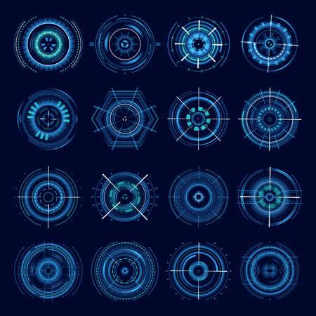 Futuristic military aims, optical aiming sci-fi spaceship cross hair, HUD user interface. Modern techno target screen elements sight, gun targets focus range indication sniper weapon Ilustracje wektorowe