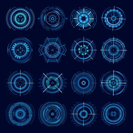 Futuristic military aims, optical aiming sci-fi spaceship cross hair, HUD user interface. Modern techno target screen elements sight, gun targets focus range indication sniper weapon 向量圖像