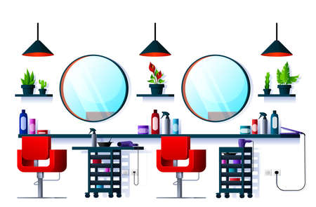 Interior of hair or beauty salon, barber shop or spa. Vector room with hairdresser chairs, mirrors and haircut equipment, hair dryers, iron and scissors, hairdressing service, hairstylist saloon interior design Illustration