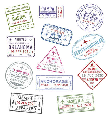 Stamps of USA, passport travel visas of US airport, icons, international departure and arrival. America airport passport travel stamps of New York, Boston, Orlando, Philadelphia and Pittsburgh