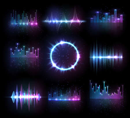 Music equalizers, isolated vector audio or radio waves, sound frequency lines and circle. Digital player display waveform, hud technology for tune bar, soundwave recorder signal. Song studio pulse set Stockfoto