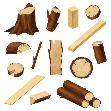 Timber vector set with wood logs, chopped tree trunks, stump with bark and firewood pile, lumber cuts of plank, board and beam, log slices and branch sticks. Cartoon woodwork, timbering and carpentry