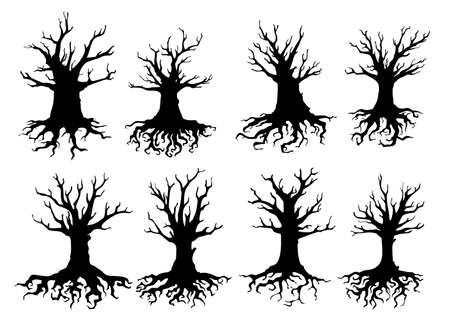 Dead tree isolated silhouettes of vector ecology and Halloween design. Old forest trees with black branches, dry roots and trunks, gnarled bough, twisted sticks, crowns and bark