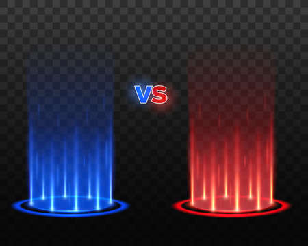 Versus or VS glowing podiums on transparent background, vector sport or game battle fighters comparison. 3d shining circles with red and blue light beams, hologram projector rays and stage spotlights 向量圖像