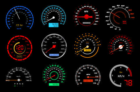 Car dashboard speedometer or speed meter dial vector icons of auto racing sport. Motor vehicle gauges or counters of car instrument panel, colorful dial scales, odometers, PRND, oil, battery displays