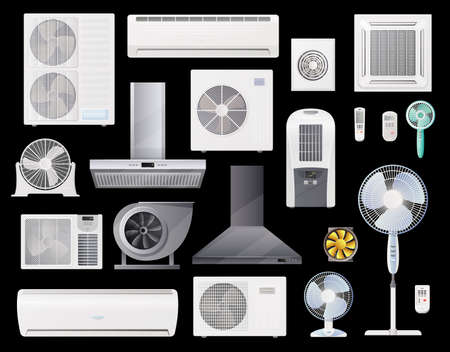 Air conditioners, fans and range hoods vector icons set of conditioning, home and industrial ventilation system. Climate control split units, air duct vent, wall and floor fans with remote control Vettoriali