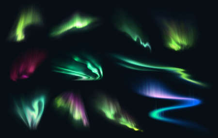 Aurora northern, polar and southern lights realistic vector on night sky background. Aurora polaris, borealis and australis with green, blue, pink and purple neon lights, shining rays and swirls
