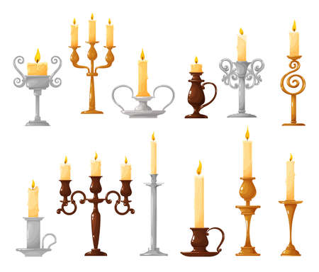 Candlestick with burning candle cartoon vector icons. Candle holder and vintage candelabra with melted wax and fire flame isolated symbols of Christmas and Halloween holiday celebration design