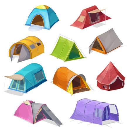 Cartoon tents vector icons, camping equipment, campsite domes, houses for outdoor recreation and hiking adventure. Sport and travel touristic marquees with ropes, windows and canopy isolated set
