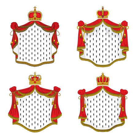 Royal mantle of ermine and gold crown, vector king or queen red cloak with golden fringe, tassels and headwear. Cartoon symbols of monarchy power, emperor coat of arms elements isolated emblems set Ilustração