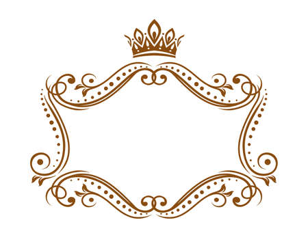 Royal medieval frame with crown, vector embellishment border with flourishes and floral ornament. Elegant vintage template for wedding invitation, heralding decoration isolated on white background Ilustração