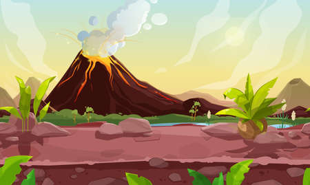 Prehistoric steaming volcano pc game scene, cartoon vector volcanic background with palm trees, river and rocks under cloudy sky. Jurassic era of Earth evolution, nature landscape with tropical plants Vector Illustratie