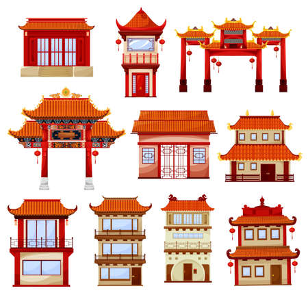 Chinese buildings, temples architecture. Traditional china town with pagoda and gate decorated with red paper festive lanterns. Ancient asian architectural structure, buildings facades exterior design Illusztráció
