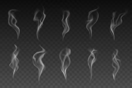 Smoke or steam isolated vector set. White smogs of cigarette, vapor waves or hot food or drink on transparent background. Magic haze or vapour texture, smoke of hookah, Realistic 3d mockup, elements