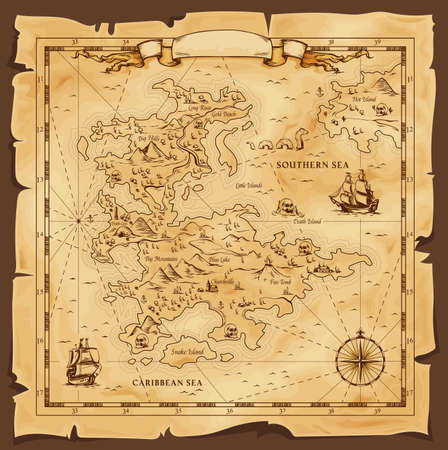 Old map, vector worn parchment with caribbean and southern sea, ships, islands and land, wind rose and cardinal points. Fantasy world, vintage grunge paper pirate map with travel locations and monster