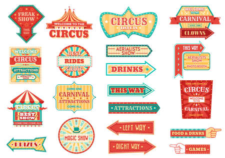 Big top circus show retro signs, glowing arrow pointers. Carnival and fair signage, circus freak show and aerialists performance, magical and clown show, food and drinks illuminating pointers vector