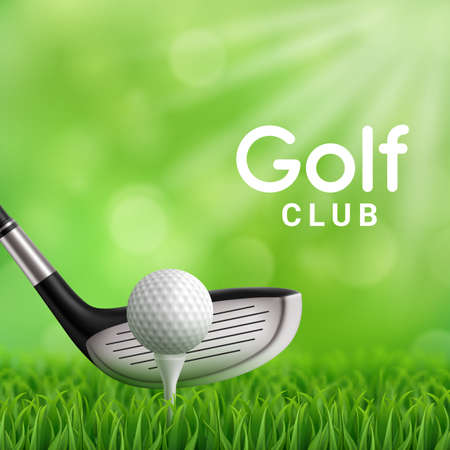 Golf club, ball and tee on grass field realistic vector design of golf sport game club. 3d iron pitching wedge hitting golfball on green lawn of putting green. Sport competition tournament poster