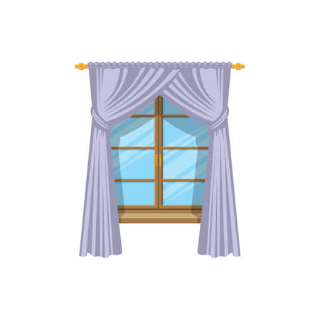 Drapery curtains on cornice at wooden window isolated icon. Vector drapes or shades, home interior and window treatments design. Tab top and sash curtains with rods and valances, vertical shutters