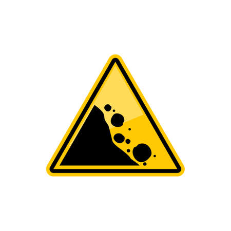 Road warning sign falling black stones in yellow triangle isolated icon. Vector rock falling area, mountain collapse, natural downward. Warning or precaution about stones fall down, natural disaster Vettoriali