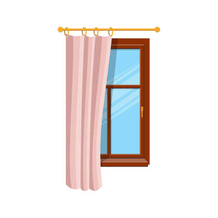 Pink half open curtain on wooden window isolated home interior architecture. Vector window treatments design, sash curtains vertical blinds. Bedroom or room window covering, vertical drapes