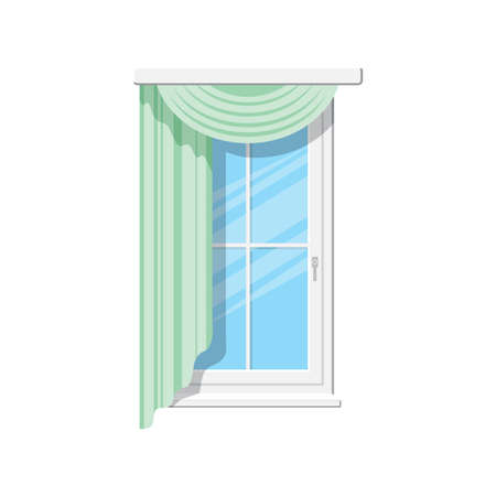 Venetian or roman curtains isolated draperies on window. Vector home or office interior element, window treatments design. Sash with valances vertical blinds or shades, realistic drapery