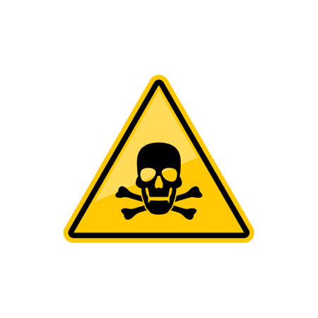 Death warning sign isolated yellow triangle with skull and crossed bones. Vector warns of danger symbol, poison or able to kill warning sign. Toxic wastes warning sign with head skeleton