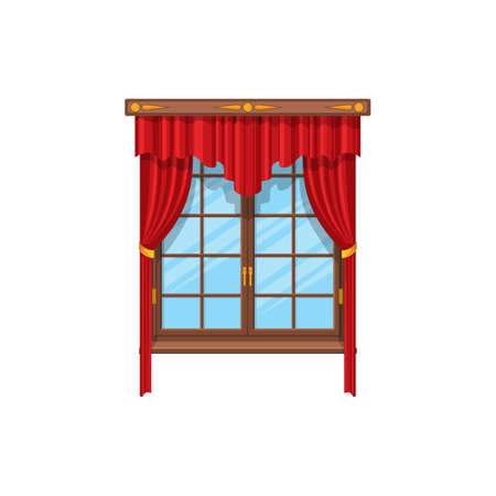 Curtains with rods and valances, vertical shutters in venetian style isolated red velvet curtains. Vector modern drapery textile shutters, room or bedroom blinds interior decor architecture element