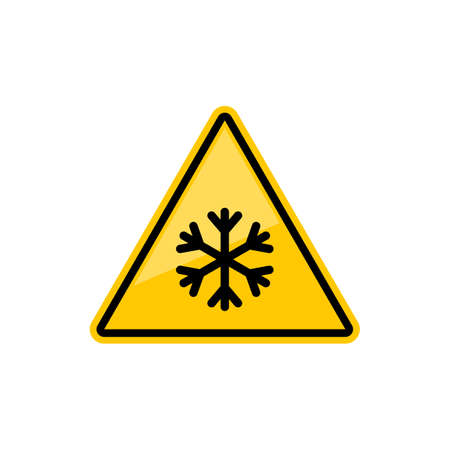 Caution sign watch out ice, snowflake in yellow triangle isolated. Vector warning failing ice, safety symbol. Dangerous slippery road, highway or street, be careful while driving on icy road