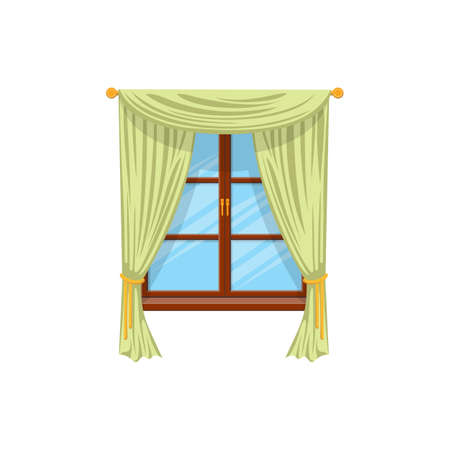 Sash curtains with rods isolated green drapes or shades. Vector velvet drapery curtains on cornice at wooden window. Tab top and sash curtains with rods and valances, modern vertical shutters