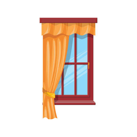 Sash curtains with rods isolated drapes or shades. Vector tab top and sash curtains with rods and valances, beige velvet shutters. Drapery shades, home interior and window treatments design