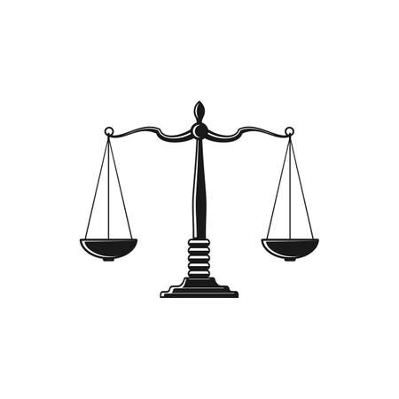 Mass balance scales isolated symbol of law and justice monochrome icon. Vector antique measuring device, Beam balance weight scales, retro mass balances of judgment and punishment, equality sign