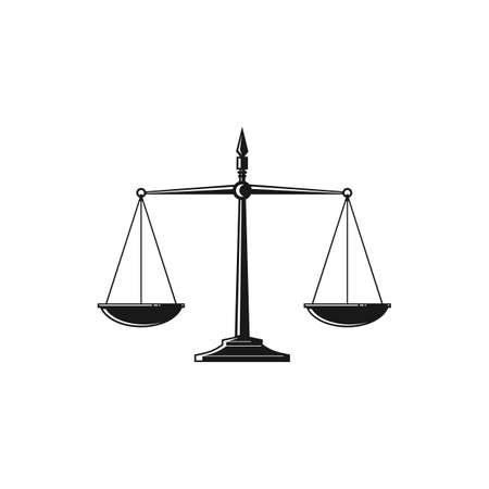 Beam balance weight scales, mass balances isolated Themis judiciary tool. Vector equal balances on stand, symbol of judgment and punishment, equality sign. Retro weight and mass measuring device