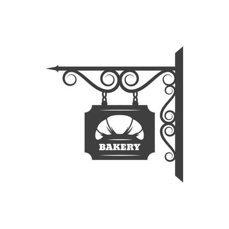 Antique bakery metal signage with fresh croissant dessert isolated forged billboard. Vector bread signboard with metal chain and forged ornaments, pastry food store. Baked food retro sign board Vecteurs