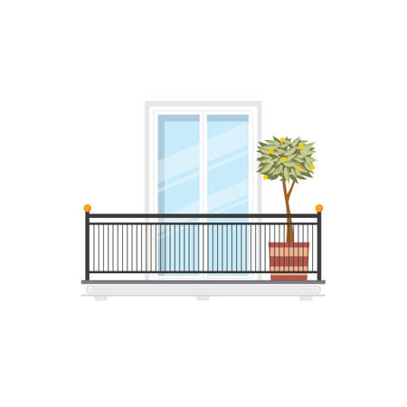 Spanish balcony with lemon or orange tree growing in pot, metal balustrade or railing. Vector residential building or hotel balcony with spindle fence, handrail and balusters, summer terrace