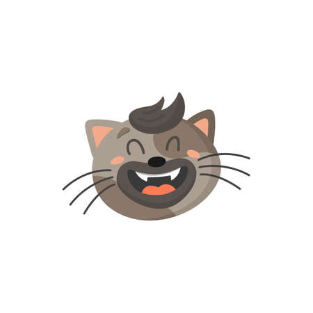 Cute laughing cat with forelock isolated home pet emoticon. Vector striped gray cat with open mouth and whiskers, feline head, cute tabby face in laugh. Feline emoji, adorable home pet crazy avatar