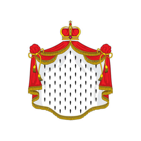 Royal mantle and crown, symbol of kingdom isolated ermine and crown. Vector heraldry coat of arms, authority and power mascot. Luxury king or queen cloth, monarch cloak with tassels and ropes