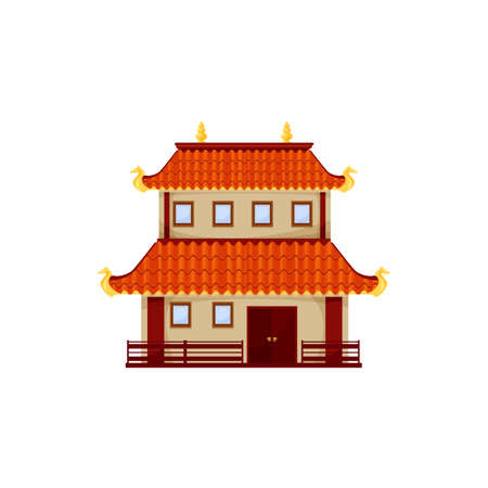 Retro chinese building isolated old chinatown street house. Vector oriental landmark, asian cartoon structure, Thailand, Vietnam or China architecture. Asian architecture facade exterior of pavilion
