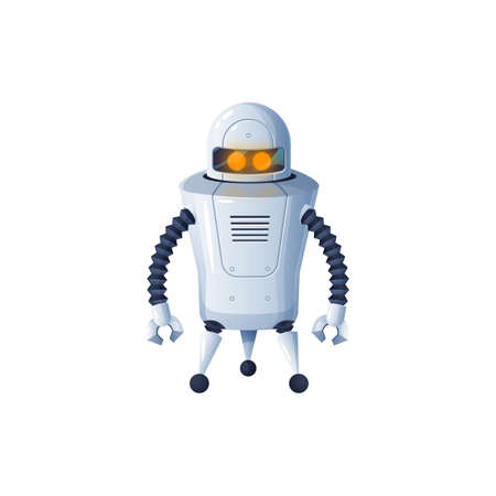 Cyber with grabs, modern technologies helper. Vector mechanical robot with arms to load objects isolated artificial intelligence cyborg. Smart kids plastic or metal toy, android with remote control