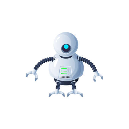 Robot with flexible legs and arms with grabs isolated futuristic humanoid or cyborg. Vector cyber space android with round head and display on body, mechanical plastic or metal kids toy robotic loader