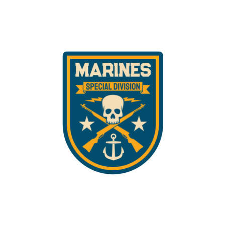 Maritime navy special division chevron with crossed rifles, skull head skeleton and anchor isolated patch on military uniform. Intelligence squad of marine forces, insignia of armed naval combat